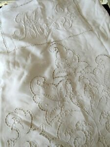 Antique Linen Superb 147 Ornate Linen Sheet With Monogram Embroidery