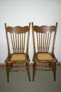 Pair Of Early American Solid Oak Construction Pressed Back Chairs W Cane Seats