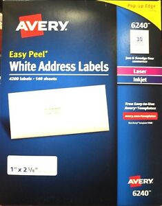 Avery Easy Peel Address Lables 1 w X 2 5 8 l White 4200 Ct ave235749 A2191b