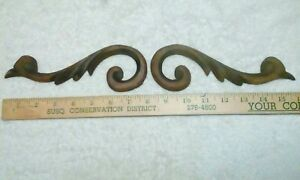 Pair Of Architectural Hand Carved Crest Pediment Furniture Appliques