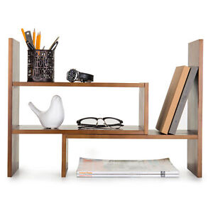 Adjustable Wood Desktop Storage Organizer Display Shelf Counter Top Bookcase
