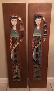 Mid Century Modern Harris Strong Pair Of Pottery Ceramic Wall Art Plaque Hanging