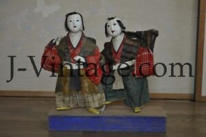2 Japanese Antique Dolls Gofun Face Child Ningyo In Kimono
