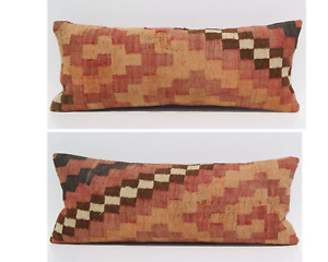 Two Cushion Persian Kilim Pillow Covers Hand Woven Rectangle Area Rugs 24 X12