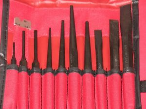 Snap On 11 Piece Punch Chisel Set Brand New In Roll Up Case