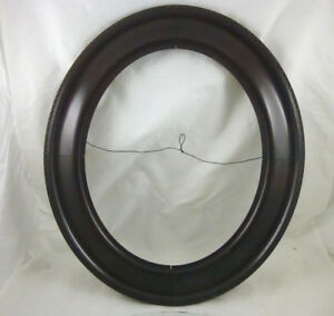 Antique Wood Oval Picture Frame With Glass 21 5 X 19 Opening 15 5 X 12 5