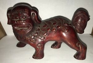 Vintage Hand Carved Chinese Wooden Guardian Foo Dog Figure 8 Tall