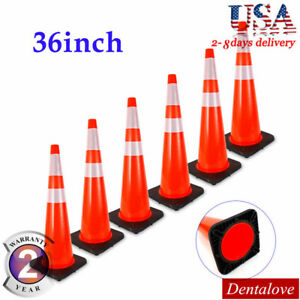 6pcs 36 High Traffic Cones Reflective Overlap Strip Safety Cone Road Barrier