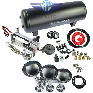 152db 3 Trumpet Train Air Horn With 3 Gal Air Tank 200psi Compressor Truck Boat