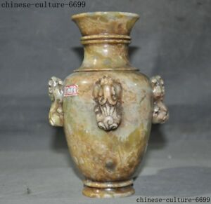Old China Dynasty Shoushan Stone Hand Carved Zun Cup Bottle Pot Vase Jar Statue