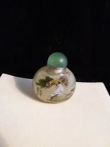 Vintage Mid Century Chinese Glass Reverse Painted Man Snuff Bottle Beautiful