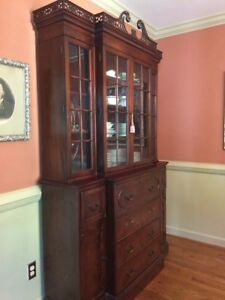 Chippendale Breakfront Bookcase Secretary Library Cabinet Mahogany Wood Quality