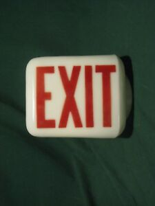 Triangle Exit Sign Milk Glass W red Letters Round Fixture Hole Excellent Cond