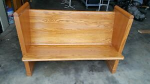 Church Pew Bench Solid Oak 48 With Cross Local Pickup