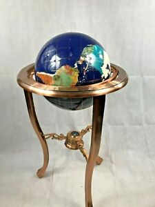 Beautiful 36 Tall Blue Lapis Gemstone World Globe With Copper Floor Stand