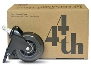 44th Office Chair Wheels With Brake Steel Casters Rollerblade Polyurethane Wheel