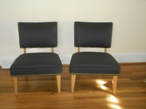 Original Pr Mid Century Modern Chairs In Solid Black Fabric And Blonde Wood