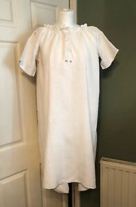 Vintage French Linen Nightdress Mg Monogram