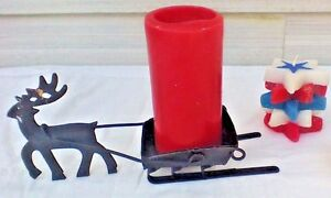 Primitive Folk Art Metal Reindeer Sleigh Christmas Spike Candle Holder Mantle