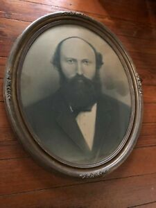 Antique Oval Frame Man Husband Portrait Charcoal Dwg Photo Couple Old Glass