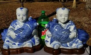 Exquisite Pair Chinese Blue White Children Porcelain Lamps Dragon And Phoenix