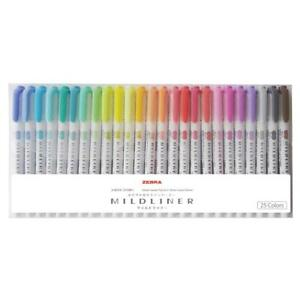Zebra Mildliner 25pcs Set Wkt7 25c Double headed Soft Highlighter From Japan