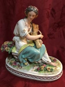 Antique French Porcelain Woman With Wheat Sheave Scythe
