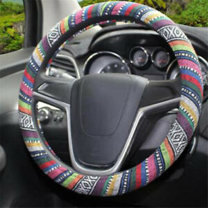Boho Anti Slip Car Steering Wheel Cover Colorful Pattern For Car Auto Shan