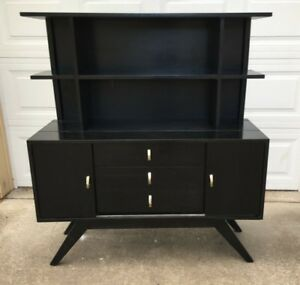 Vintage Mid Century Modern Sideboard In Black Possibly Original Finish
