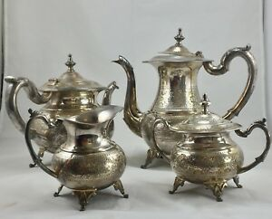 Antique Vintage E P S Silver Plated Coffee And Tea Set Marked E P S 15m
