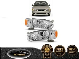 For 2001 2002 Toyota Corolla Headlights With Corner Signal Left Right Set