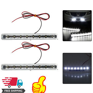 2pcs Led Daytime Running Lights Cool White Daylight Drl Fog Lamp Bright Light