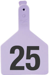 Z Tags Cow Ear Tags Purple Numbered 1 25