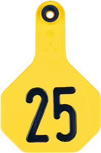 Y tex 3 Star Medium Cattle Ear Tag Yellow Numbered 126 150