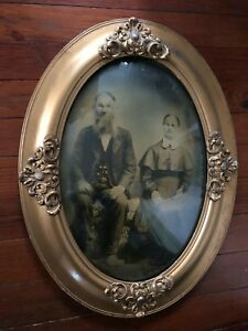 Antique Victorian Oval Frame Picture Of Couple 1880 Convex Glass Gesso Detail