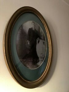 Antique Oval Frame Victorian Boy And Large Urn 1880 Wood And Gesso Beaded Detail