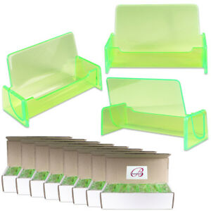 100pc Hq Acrylic Plastic Business Name Card Holder Display Stand clear Green