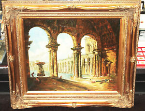 Vintage Oil Painting W Gold Gilt Ornate Wood Picture Frame Large 33 X 29 Roman
