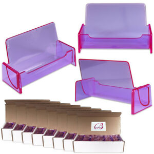 100pc Hq Acrylic Plastic Business Name Card Holder Display Stand clear Purple