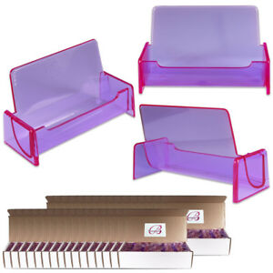 500pc Hq Acrylic Plastic Business Name Card Holder Display Stand clear Purple