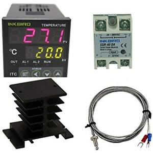 Ac 100 220v Itc 100vh Digital Pid Thermostat Temperature Controller Da 40a Ssr
