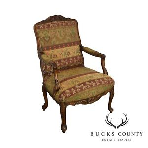 Hancock Moore Elephant Print Rucoco Carved Fauteuil Library Armchair