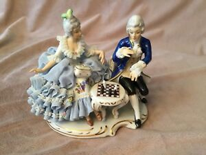 Antique Dresden Porcelain Figurine Woman Man Play Chess Mint Large Collectable