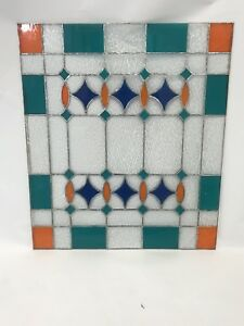 Art Deco 1930s Handcrafted Stained Glass Window Panel 30 L X 26 W