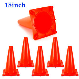 6pcs 18 Road Safety Cones Fluorescent Red Construction Traffic Sports Pvc Cone