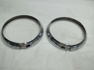 1937 38 Buick Headlight Doors Rings Chromed Pair Very Nice