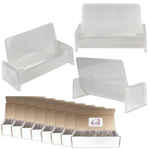 100pc Hq Acrylic Plastic Business Name Card Holder Display Stand clear Silver
