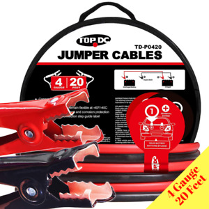 Heavy Duty Car Jumper Cable 20 Ft 4 Gauge Battery Booster Emergency Wire Clamps