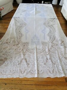 Circa 1900 S Tablecloth W Appenzell Filet Lace W Figural Cherubs
