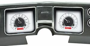 1968 Chevelle El Camino Dakota Digital Silver Alloy Red Vhx Analog Gauge Kit